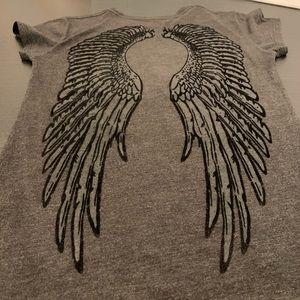 Unknowm Tops - M T-Shirt Grey Velvet Graphic Angel Wings Back